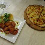 Beer battered prawns, herb & garlic pizza