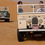 Series 1 Land Rovers in the desert