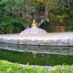 Buddha in Garden behind Temple