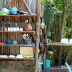 Casa Bambu kitchenware/sink area