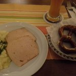 Leberkase with potato salad, prezel & beer