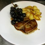fresh goose liver flambeed