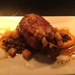 pork shank, squash purée, heirloom red peas