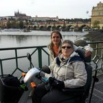 Mom and Lida in front of Prague Castle and Charles Bridge