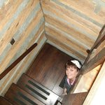 This is me peaking up the stairs to our bedroom