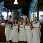 Sam, Catia, Rondi, Connie and Cherry showing the cooking workshop's certificates