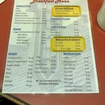 Menu of the Main Street Diner on September 8, 2012