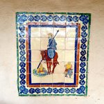 Don Quixote mosaic next to the front door.