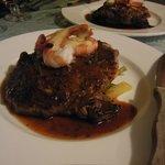 10 oz Rib Steak w/ Red Wine Jus and Steamed Shrimp w/ Hollandaise