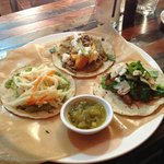 fish, paris mushroom and squash with fresh cheese tacos