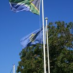 Beautiful flags on Jubilee Square just outside the hotel