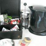 Tea kettle and biscuits replenished daily