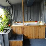 Deep soaker tub on Water Garden Verandah