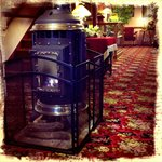 Sitting by the wood-burning stove in the lobby