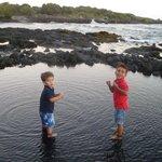 Kids at Black Sand Beach