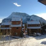 This is the view from our front door: more suits with Rundle Mountain in behind.