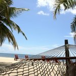 Relaxing in a hammock near our cabana.