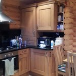 Kitchen area in log cabin