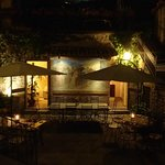 the restaurant patio at night