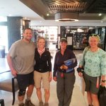 View of our Mt. Kilimanjaro climbing group in the lobby - before showers!