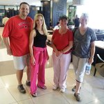 View of our Mt. Kilimanjaro climbing group in the lobby - after showers!