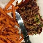 Pulled Pork Sweet Potato Tamale w/ Sweet Potato Fries : CBQ Eatery
