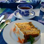 afternoon tea with carrot cake