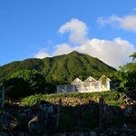 The Yellow Manor House with Mt. Nevis in background