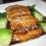 (blurry) pork belly in garlic sauce