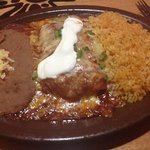 seafood enchilada with rice & beans