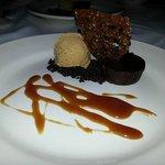 Flourless Chocolate Cake, Pumpkin Ice Cream, Chocolate Streusel, Cocoa Nib Tuille, Caramel.