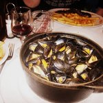 Mussels. Good portion size. Chips lacked any flavour.