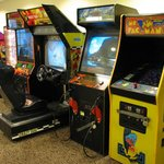 Game room -- Ms. Pac Man, yay!