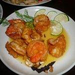 Lemon butter prawns