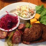 German sausage appetizer w/red cabbage