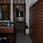 Kitchen and door to pool and outside table