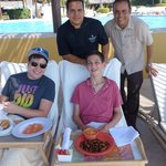Chef Ramon and Ketsie manager Israel delivering lunch poolside!