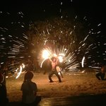 Amazing fire dance show at dinner