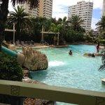 Main pool showing water slide exit