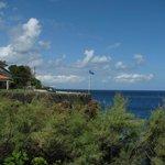 Blick vom Garten aufs Hotel
