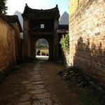 Leaving the village through the archway.