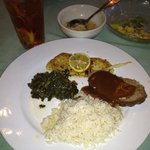 Fish, meatloaf, greens & rice