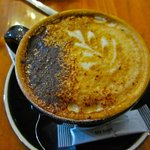 Nice hot cappucino on a cool rainny day at 14 deg Celcius.