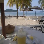 View of the beach at breakfast