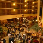 The atrium area at the Embassy Suites, also where breakfast is served.