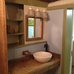 Lovely raw wood wash area.