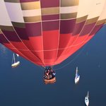 Looking down on a balloon drifting over Lake Champlain