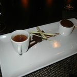 Valrhona Chocolate Symphony: Manjari chocolate cake, bitter-sweet cocao sorbet, burnt chai créme