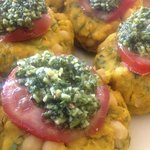 Pumpkin and Lentil cakes topped with Basil and Parmesan cheese Vegetarian delight