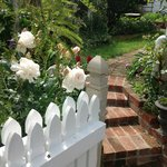 Leading up the garden path from the front gate a very full English style garden